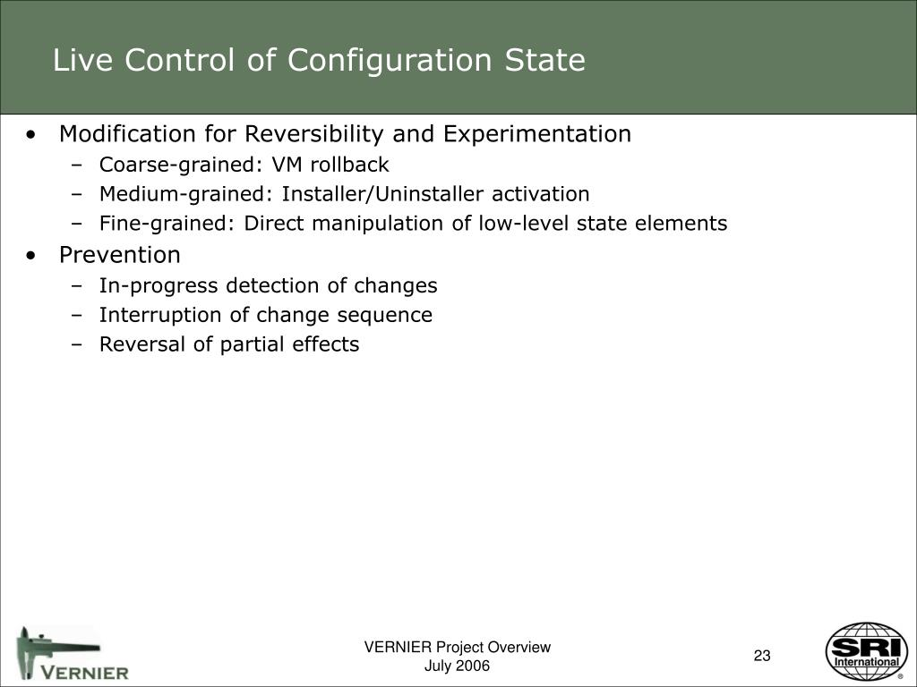 Live Control of Configuration State