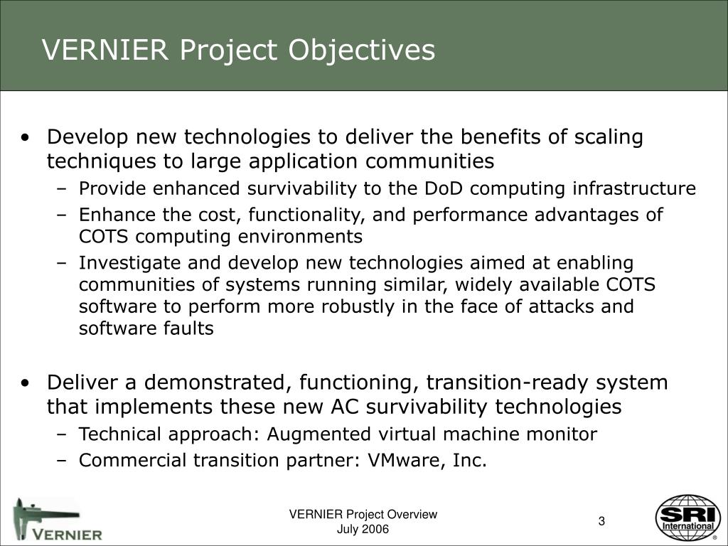 VERNIER Project Objectives