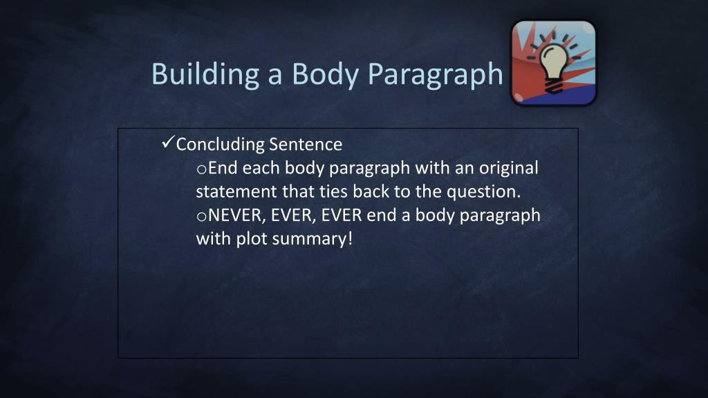 Building a Body Paragraph
