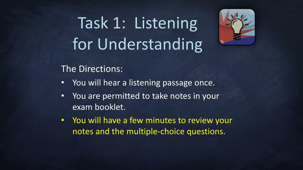 Task 1:  Listening