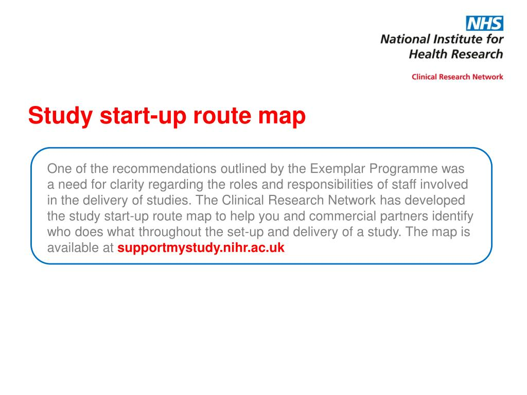Study start-up route map
