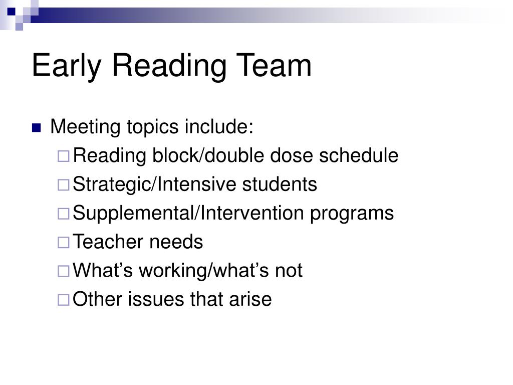 Early Reading Team