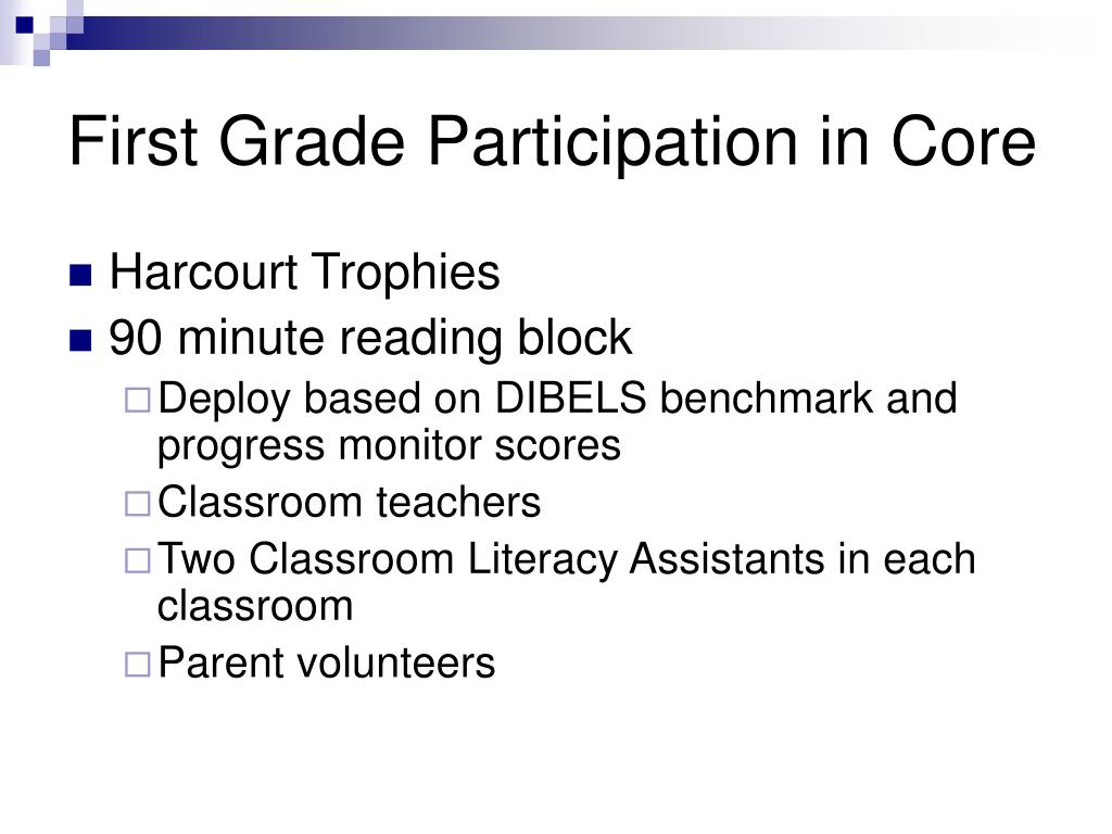 First Grade Participation in Core