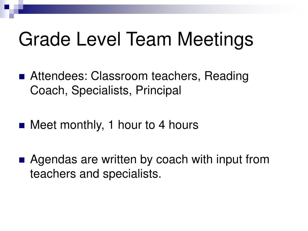 Grade Level Team Meetings