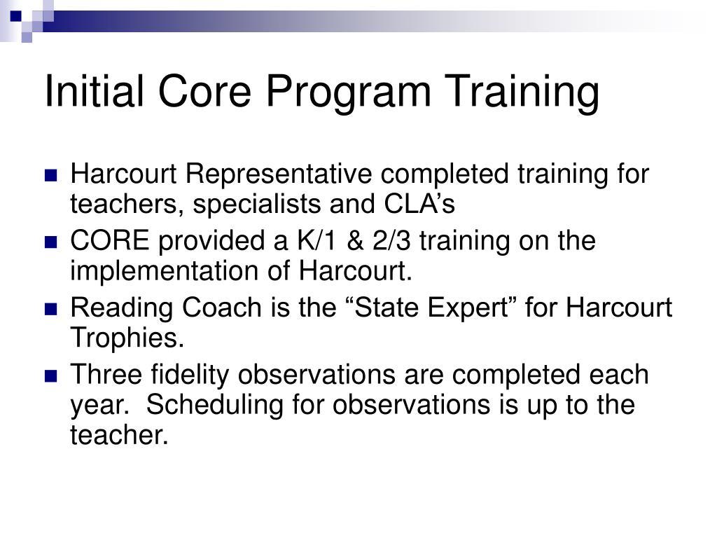 Initial Core Program Training