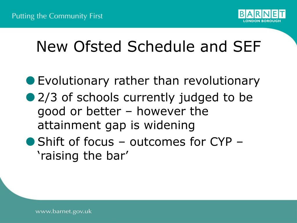 New Ofsted Schedule and SEF