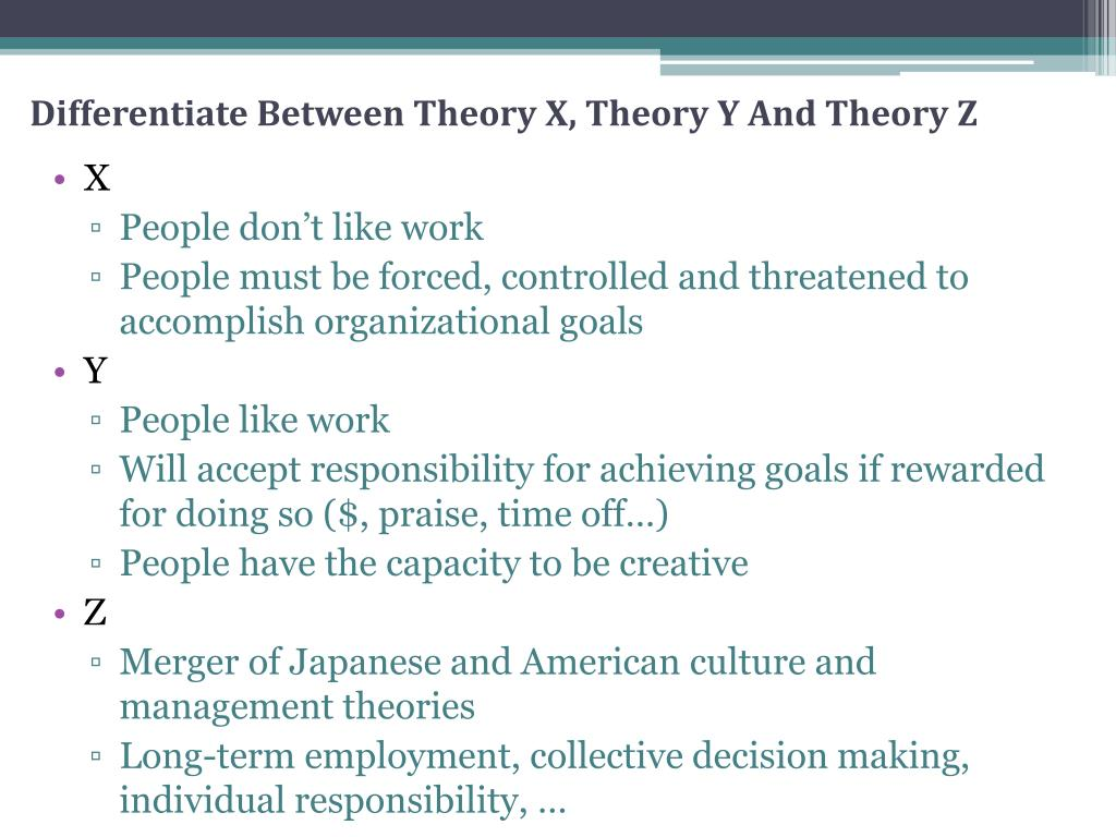 Differentiate Between Theory X, Theory Y And Theory Z