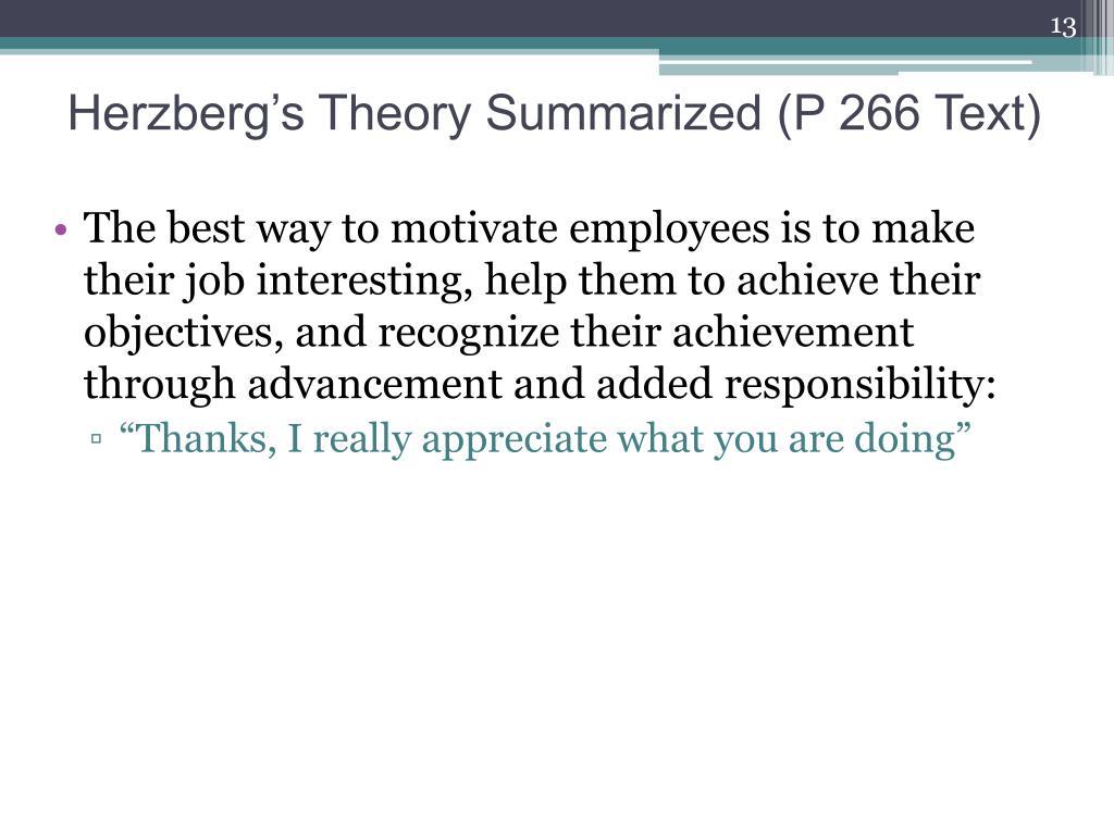 Herzberg's Theory Summarized (P 266 Text)