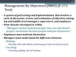 management by objectives mbo p 273 text