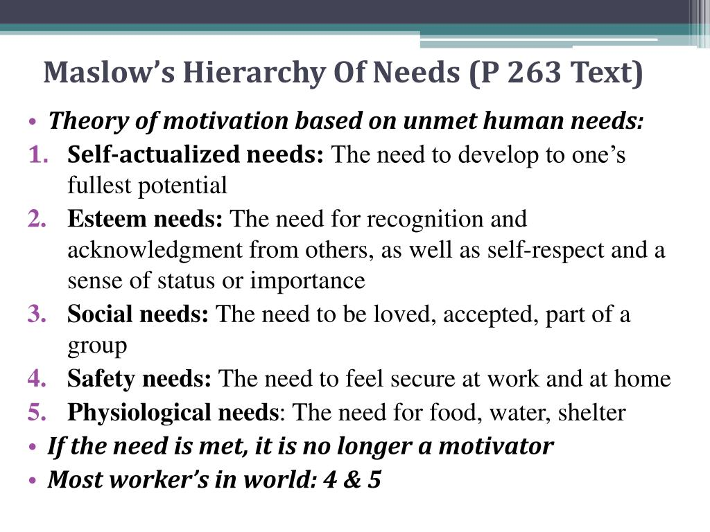 Maslow's Hierarchy Of Needs (P 263 Text)