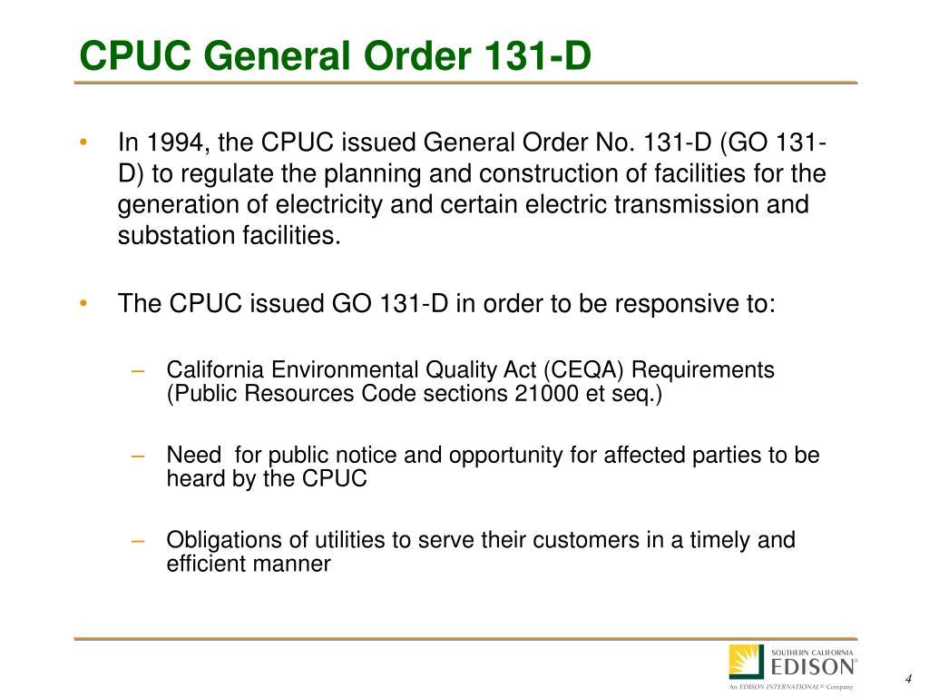 CPUC General Order 131-D