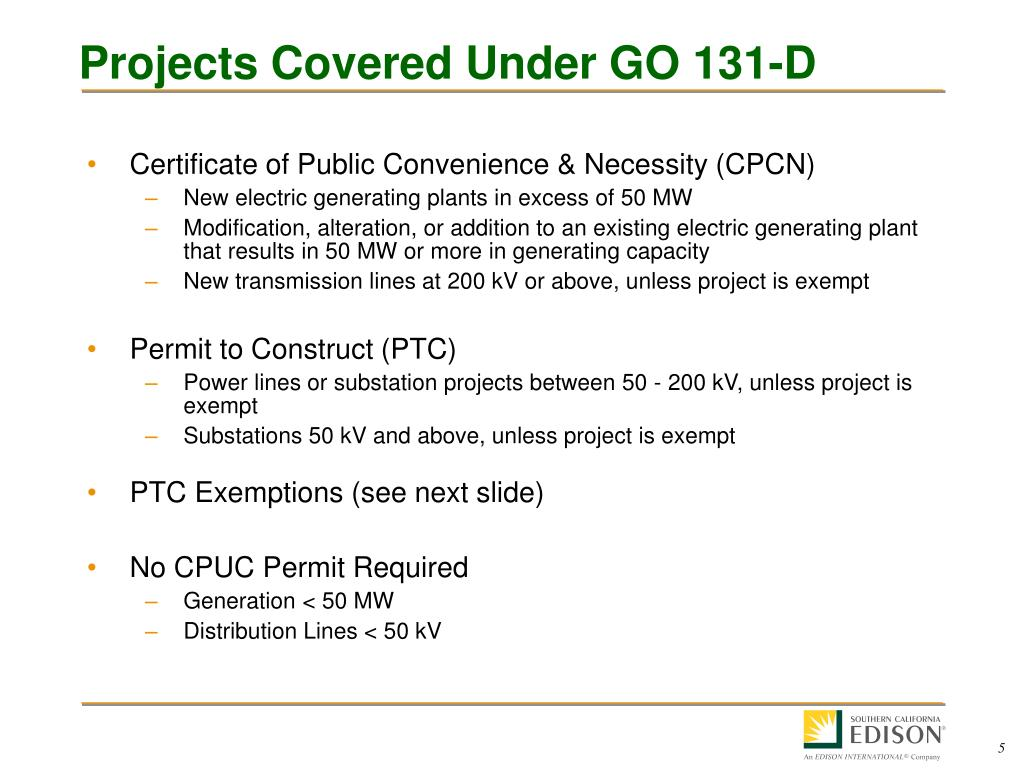 Projects Covered Under GO 131-D
