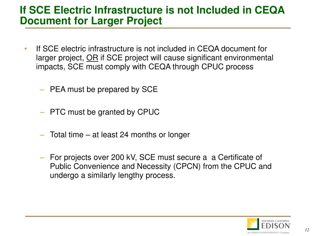If SCE Electric Infrastructure is not Included in CEQA Document for Larger Project