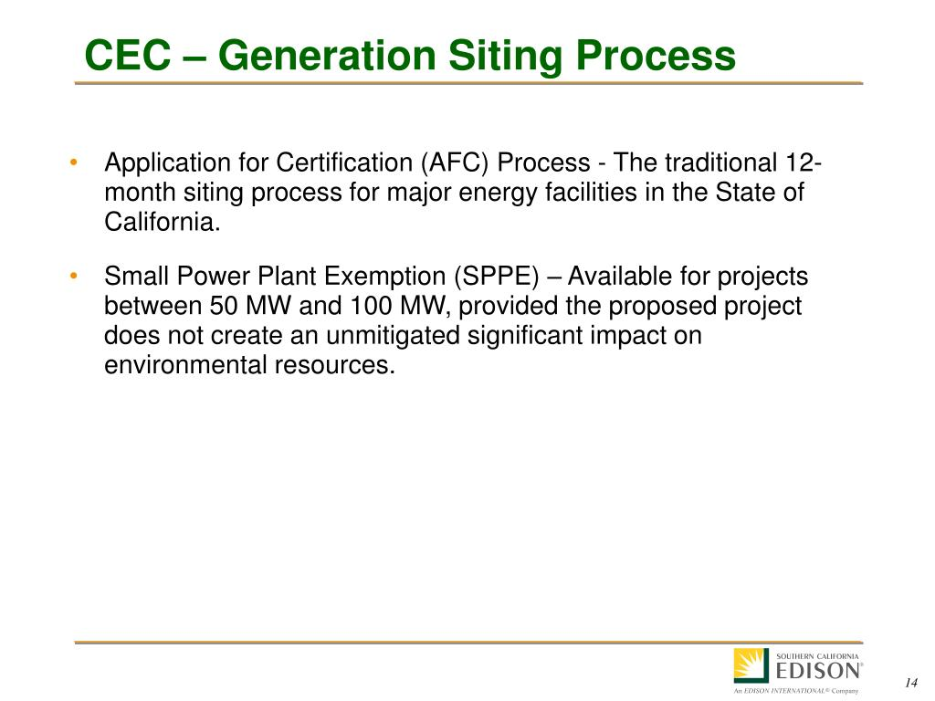 CEC – Generation Siting Process