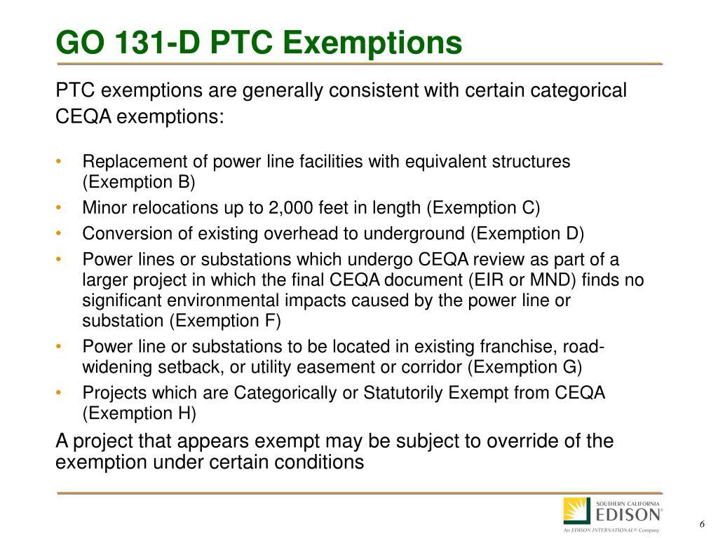 GO 131-D PTC Exemptions