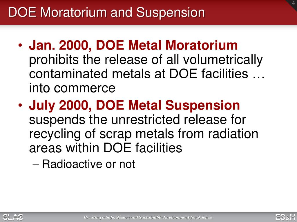 DOE Moratorium and Suspension