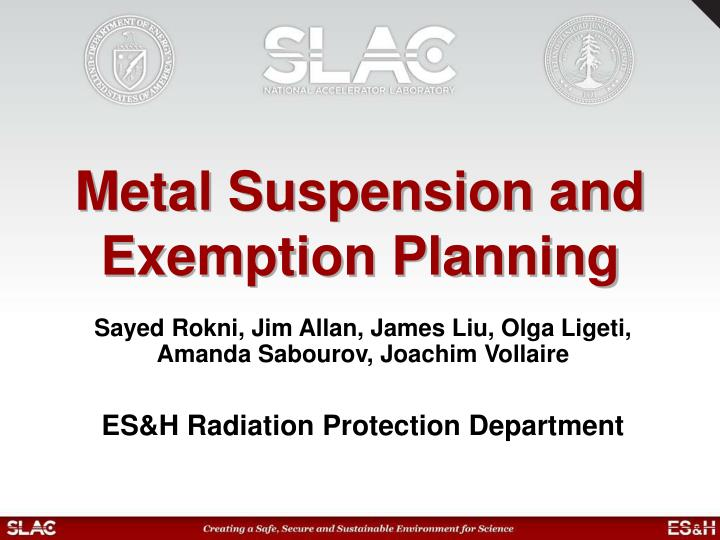 Metal suspension and exemption planning l.jpg