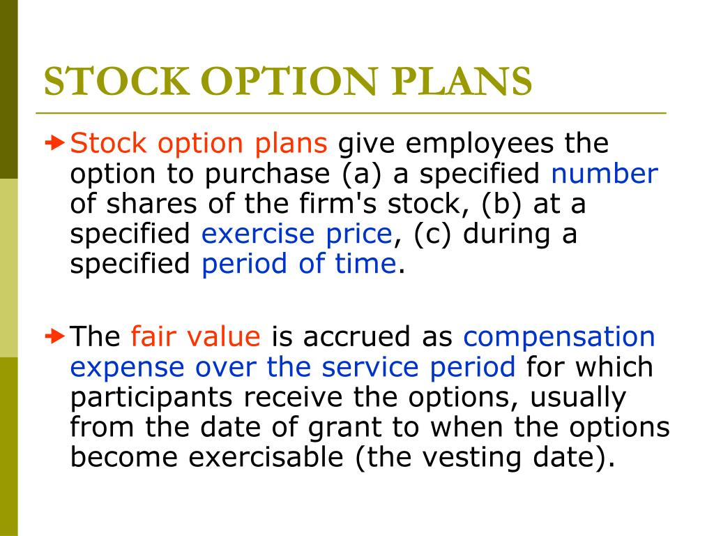 Stock options expensed over vesting period