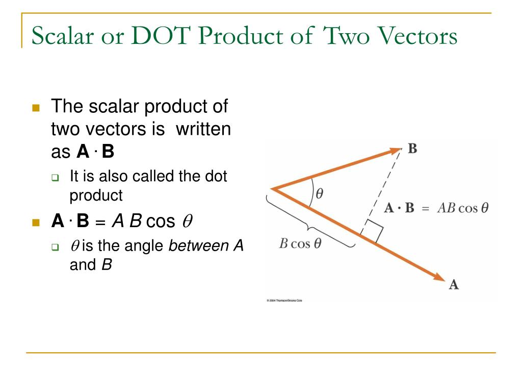 scalar and vectors The scalar product mc-ty-scalarprod-2009-1 one of the ways in which two  vectors can be combined is known as the scalar product when we calculate the .