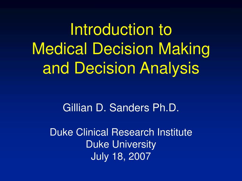 an introduction to the analysis of career decision making Infsci 2130 / issp 2240 decision analysis and decision support  that you will be making during your professional career  introduction to decision analysis.