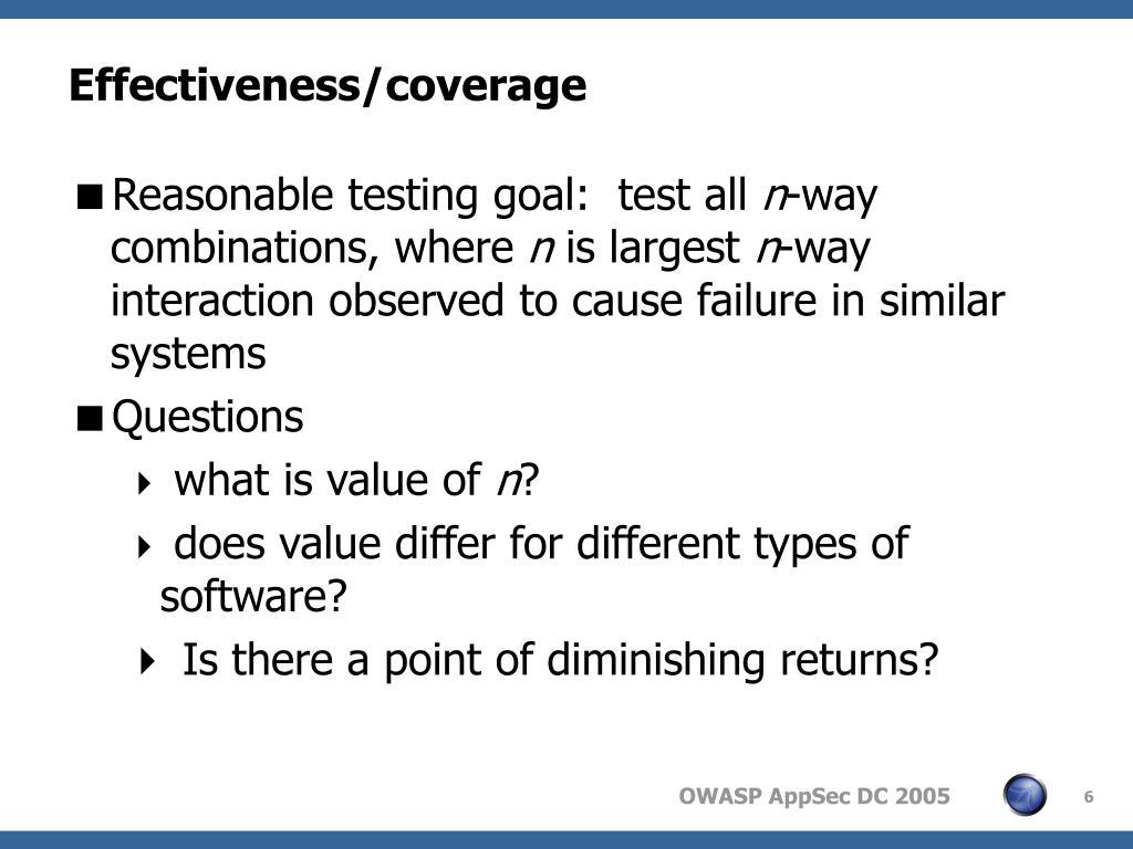 Effectiveness/coverage