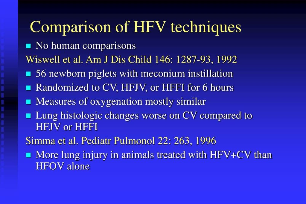 Comparison of HFV techniques