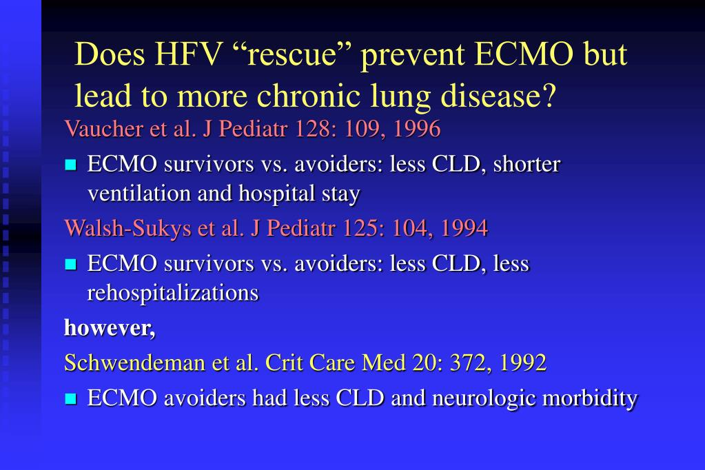 """Does HFV """"rescue"""" prevent ECMO but lead to more chronic lung disease?"""