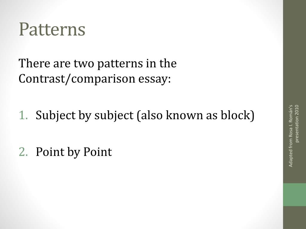 comparison contrast essay point point block