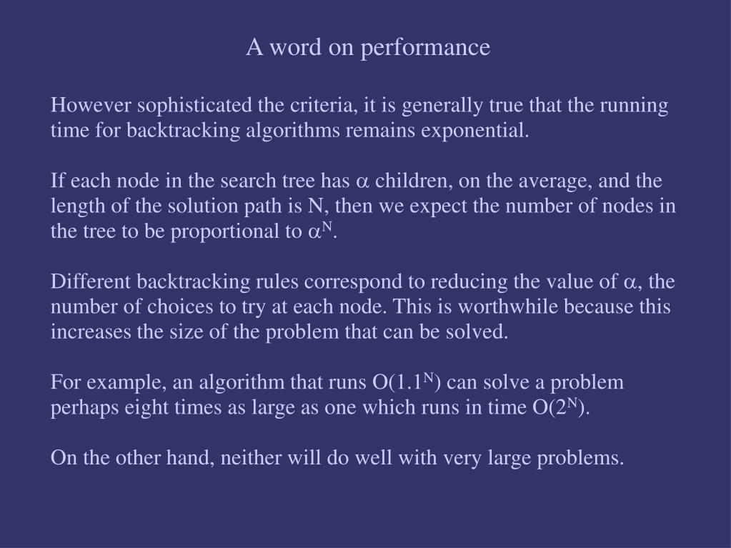 A word on performance