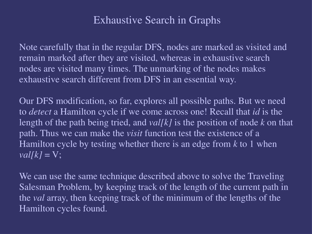Exhaustive Search in Graphs
