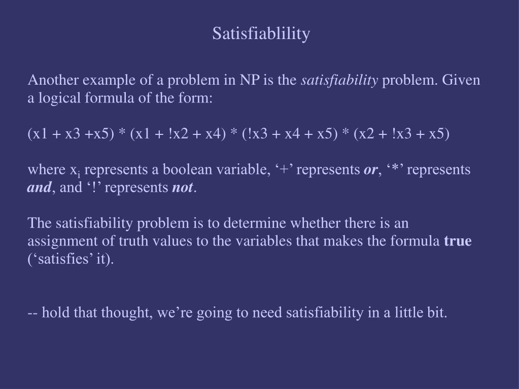 Satisfiablility
