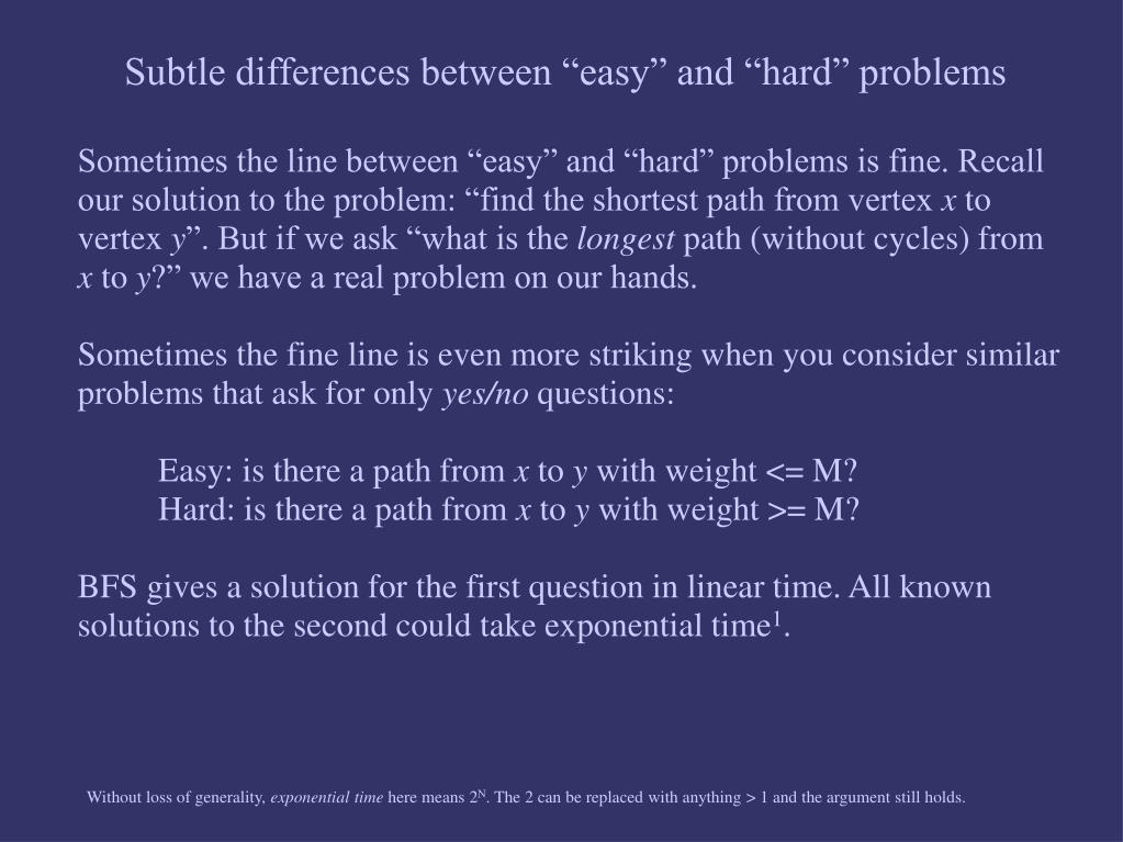 "Subtle differences between ""easy"" and ""hard"" problems"