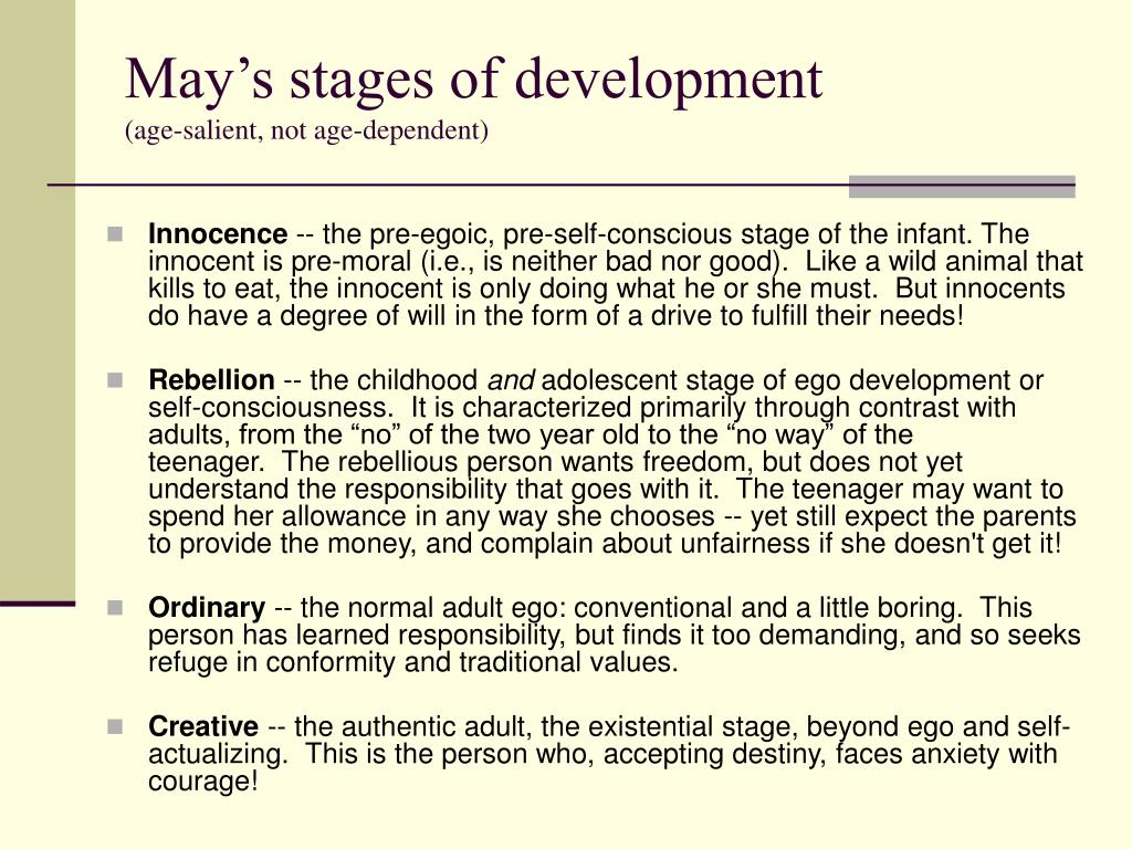 May's stages of development