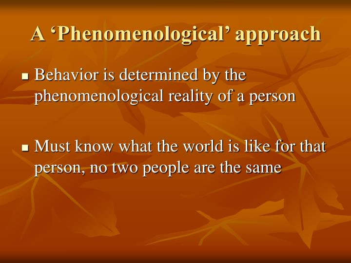 A phenomenological approach