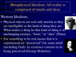 metaphysical idealism all reality is comprised of minds and ideas
