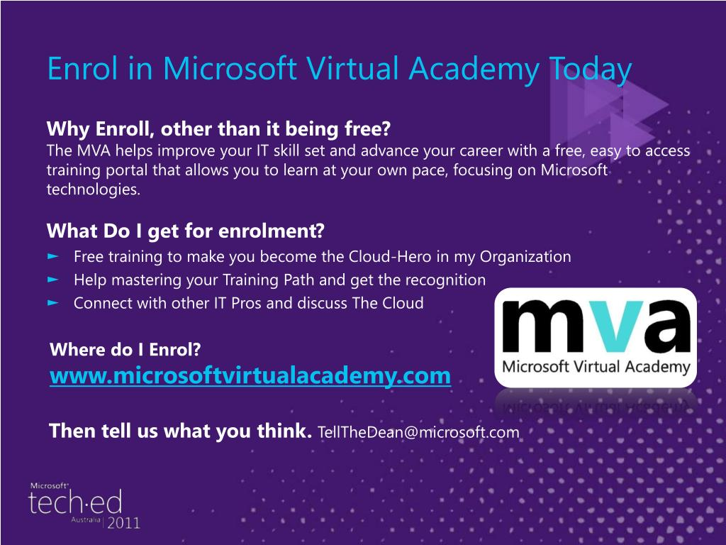 Enrol in Microsoft Virtual Academy Today