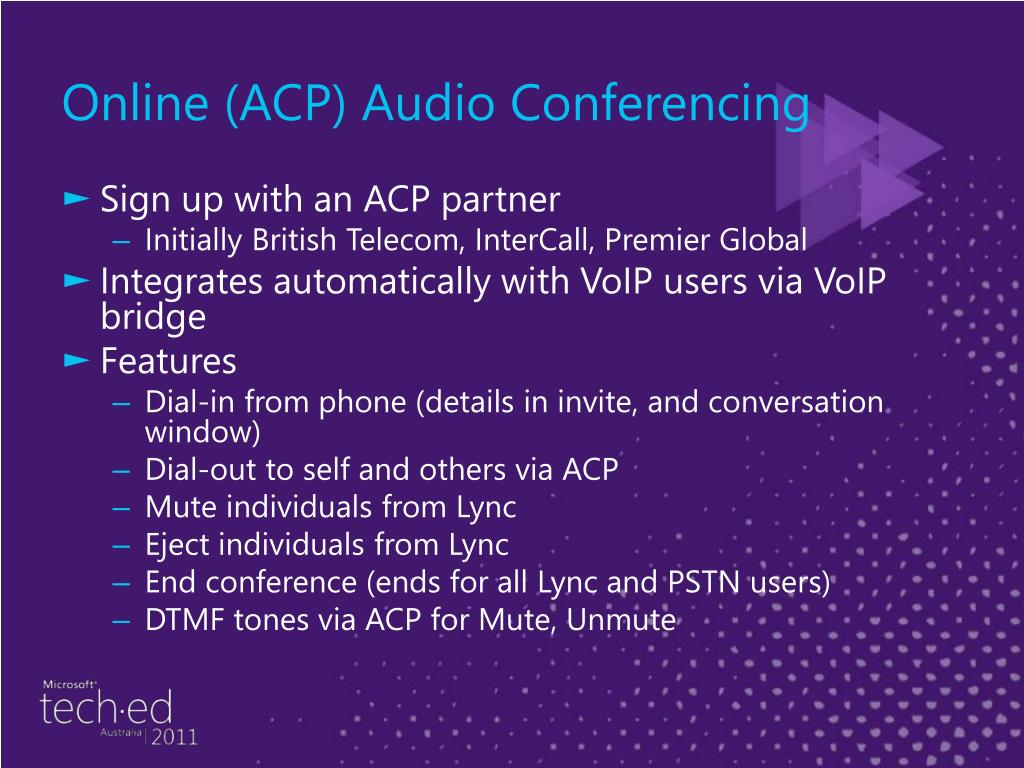 Online (ACP) Audio Conferencing