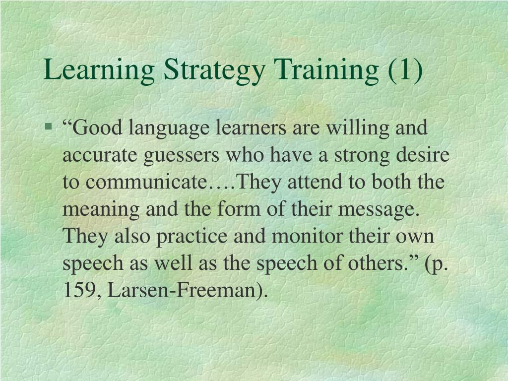 Learning Strategy Training (1)