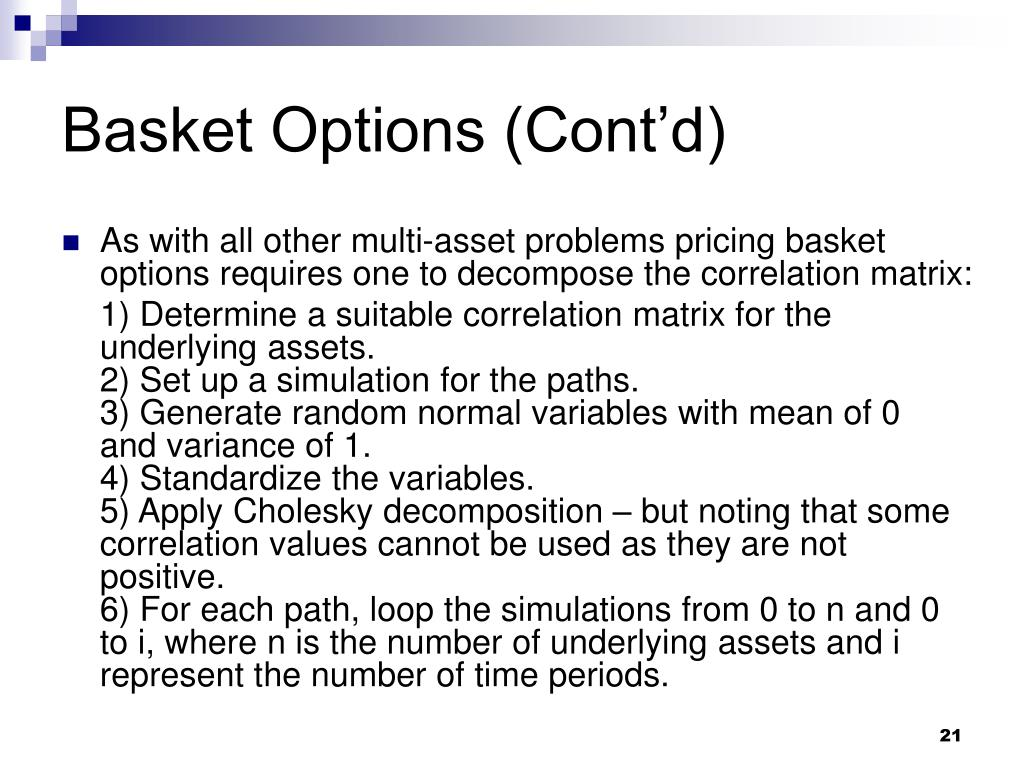 Basket Options (Cont'd)