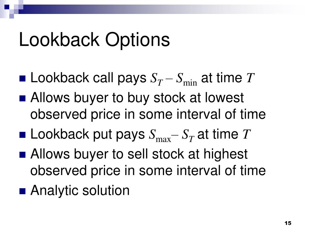 Lookback Options