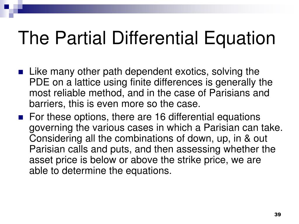 The Partial Differential Equation