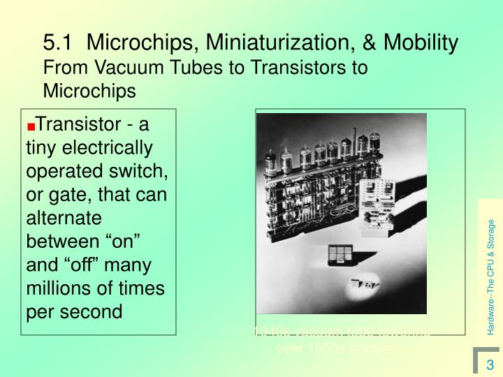 5 1 microchips miniaturization mobility from vacuum tubes to transistors to microchips l.jpg