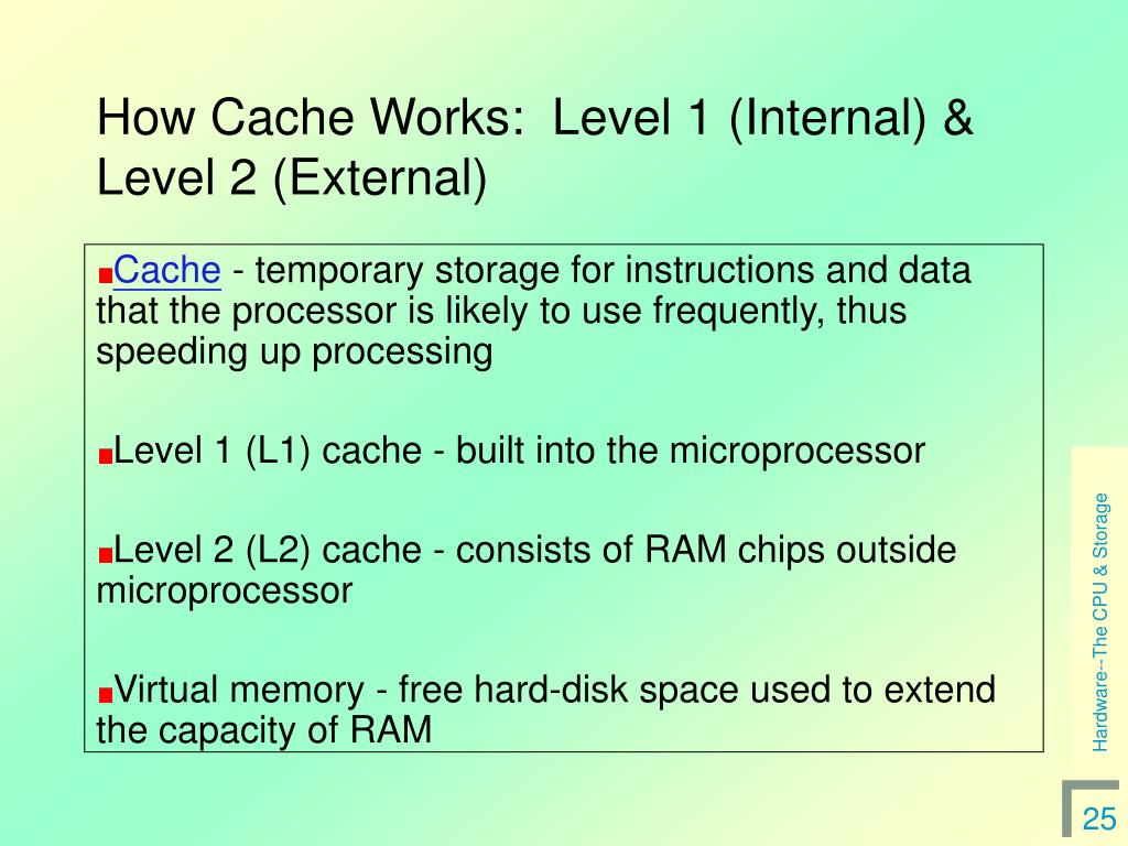 How Cache Works:  Level 1 (Internal) & Level 2 (External)