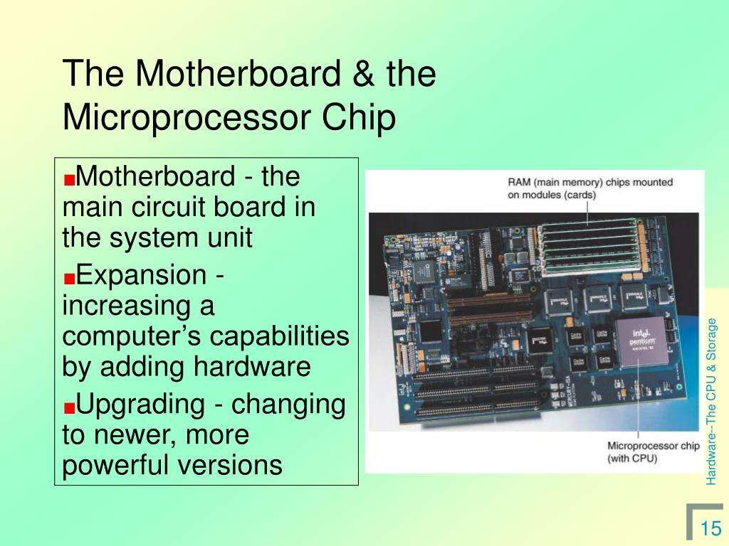 The Motherboard & the Microprocessor Chip