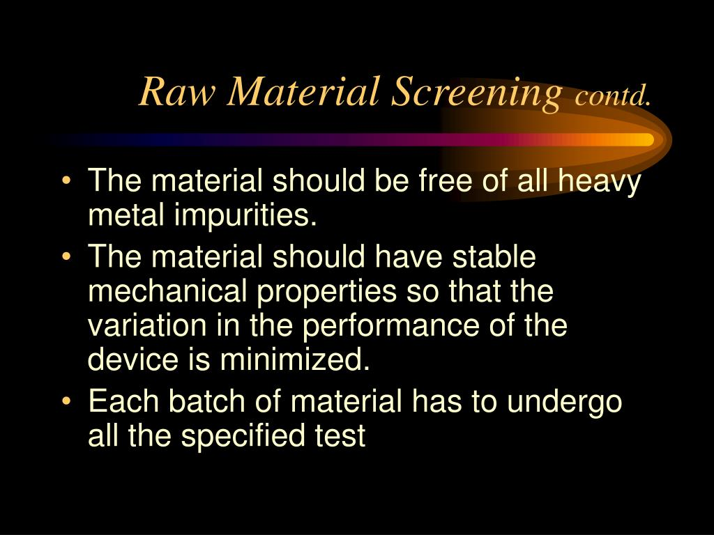 Raw Material Screening