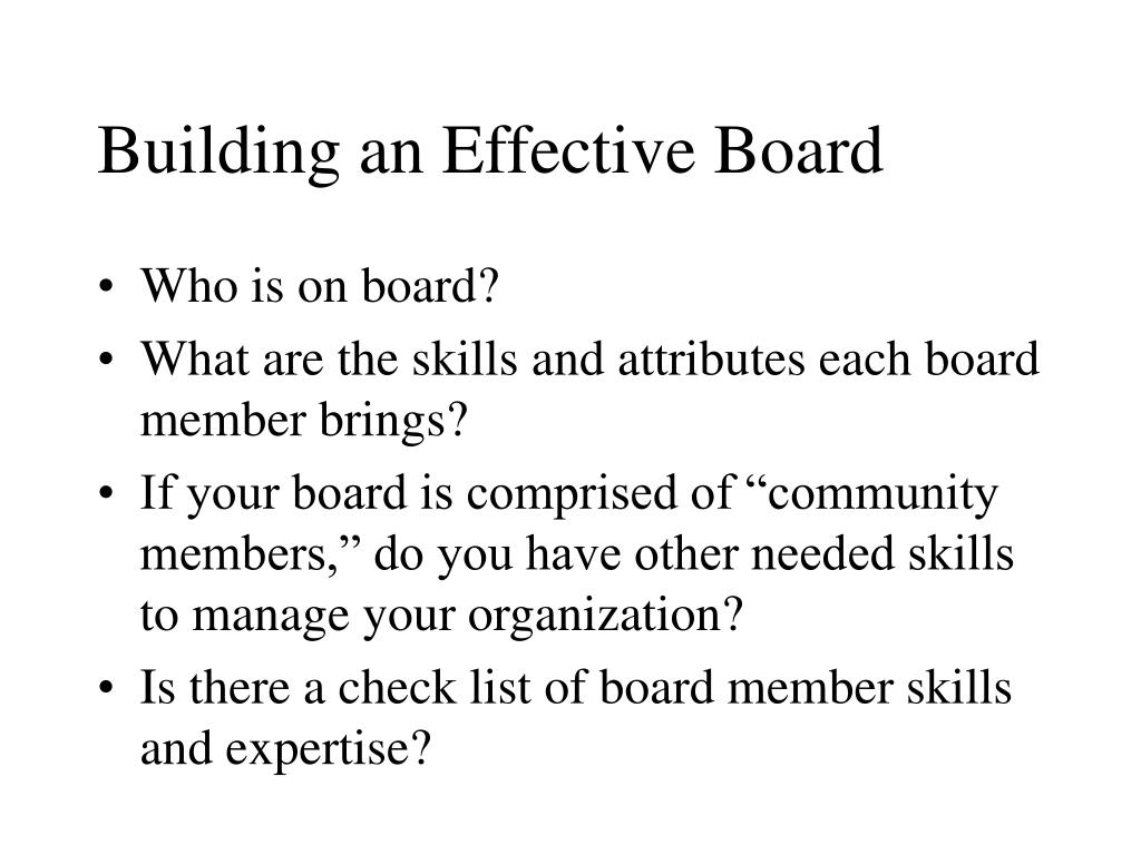 Building an Effective Board