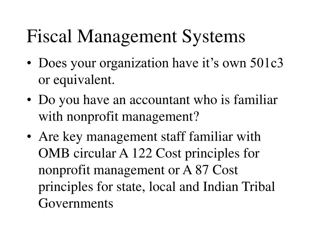Fiscal Management Systems