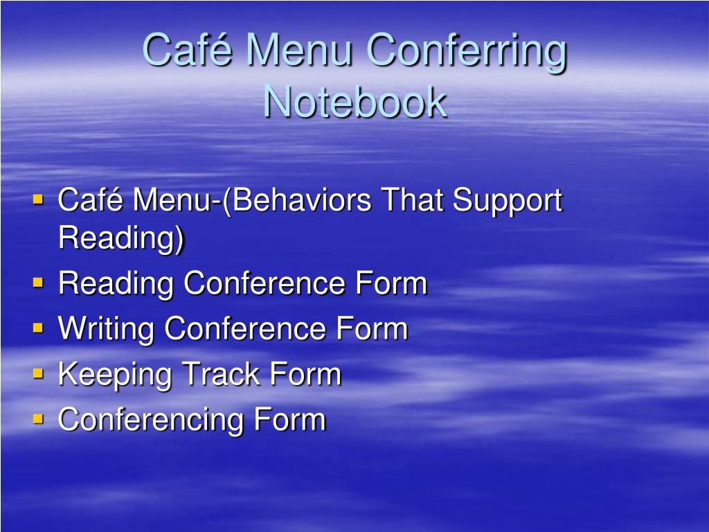 Café Menu Conferring Notebook
