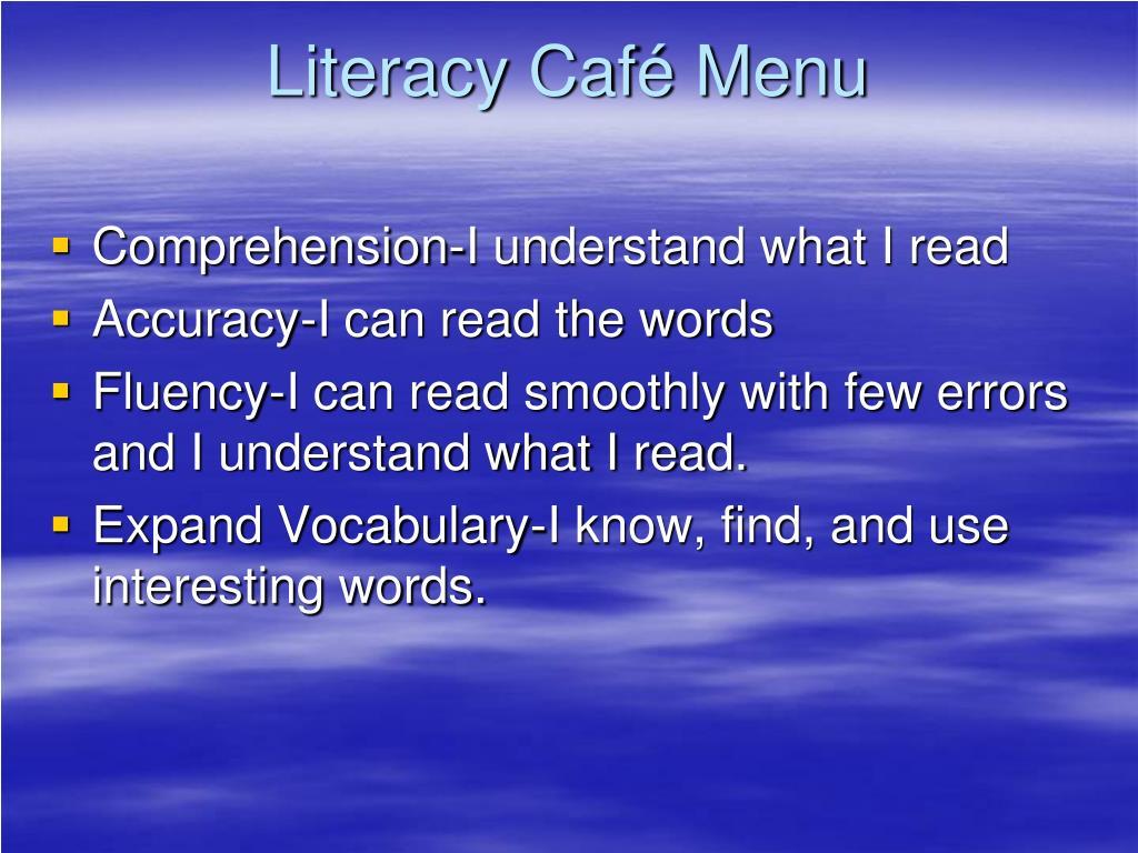 Literacy Café Menu