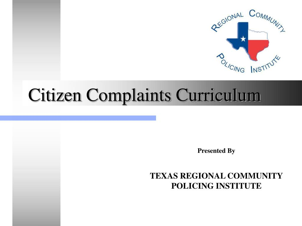 citizen complaints curriculum